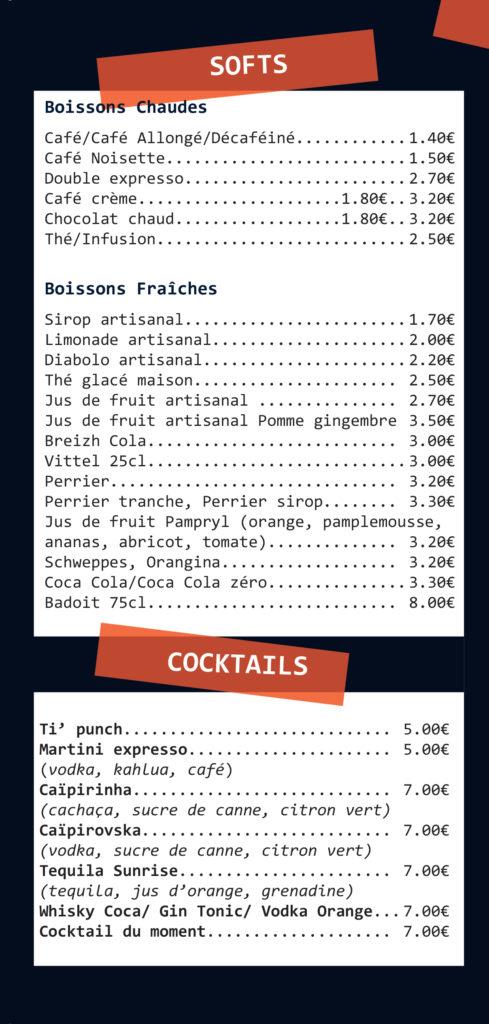 Carte des boissons 3